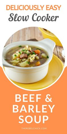 Slow Cooker Beef Barley Soup Recipe Crockpot Recipes, Soup Recipes, Beef Barley Soup, Stewed Tomatoes, Roasted Meat, Peeling Potatoes, Slow Cooker Beef, No Cook Meals