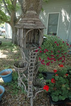 i seen this in a town at a little shop and would love this in my garden as a fairy house or bird house