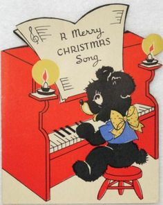 #1363 30s Bear Plays the Piano-Vintage Diecut Christmas Greeting Card