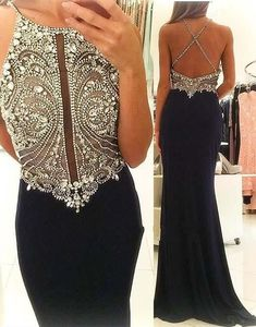 Sexy Black Evening Dresses 2016 Cheap Jewel Keyhold Neck Sparkle Crystal Beaded Long Custom Criss Cross Back Formal Prom Dress Party Gowns Online with $129.15/Piece on Haiyan4419's Store | DHgate.com: