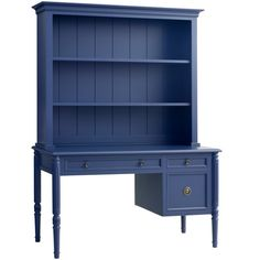 Isabella Writing Desk w/ Hutch in Blueberry design by Redford House ($3,945) ❤ liked on Polyvore featuring home, furniture, desks, painted desk, shelf furniture, swedish painted furniture, shelving furniture and shelf desk