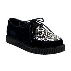 1 Inch MENS SIZING Creeper Shoes Rockabilly Lace Up Suede With Cheetah Fur Animal Prints Size: 10 Unknown. $64.99