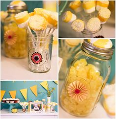 Yellow and blue party theme. I love myself a good jar party :)