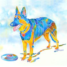 Frisbee Painting - Shepherd With Frisbee - Play With Me by Jo Lynch