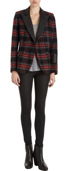 Laveer - Double-Breasted Plaid Jacket. $595
