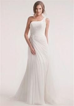 Dress Details    Silhouette: Mermaid  Neckline: One-Shoulder  Waist: Asymmetric  Gown Length: Floor  Train Style: Attached  Train Length: Chapel  Size: 2 - 32  Price: $$$