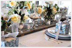 reuse our wedding silver centerpieces for a silver and sage Christmas table Christmas Gifts 2016, Merry Christmas To You, Green Christmas, Christmas Holiday, Silver Christmas Decorations, Christmas Table Settings, Christmas Centerpieces, Holiday Tablescape, Elegant Table Settings