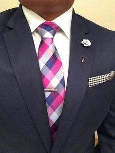 Navy Blue Suit. Pink, White, & Navy Blue Tie. Crystal Camellia Pin Lapel Flower - Suited Men
