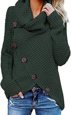 VEMOW Damen Rollkragenpullover Solid Sweater Warm Cable Gestrickte Lose  Knopf Wrap Asymmetrische Langarm Sweatshirt Pullover Tops 38d2f4f0ae