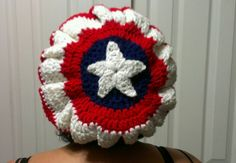 Captain America slouchy beanie, crocheted free hand.