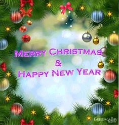 Merry Christmas & Happy New Year - Free animated ecards, GIFs and pics. Christmas Animated Gif, Merry Christmas Animation, Holiday Gif, Merry Christmas Images, 3d Christmas, Christmas Scenes, Merry Christmas And Happy New Year, Happy Holidays, Christmas Bulbs