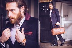Actor Craig McGinlay wearing a bespoke wool cashmere fall/winter overcoat made by Dress2Kill.