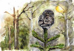 Monthly Makers januari: fågeltriptyk i akvarell på papper