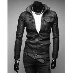 $35.12 Casual Style Stand Collar Pocket Embellished Slimming Long Sleeves Men's PU Leather Coat