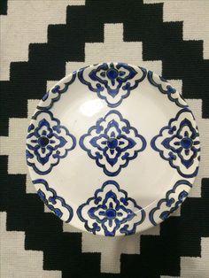 Çini,tabak,modern çini,mavi beyaz