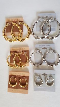 14 Kt.Gold Or Silver Plated Bamboo Hoop Earrings Made In Usa Buy1 Get 1 20% Off