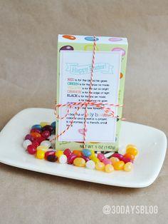 Printable Easter Jelly Beans Poem via www.thirtyhandmadedays.com