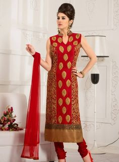 Red designer lahori shalwar kameez suit in art silk C15200