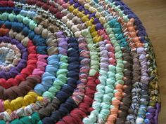 Hit and Miss Crochet Round Rag Rug by Mrs Ginther, via Flickr