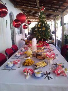 Mesa café da manhã de Natal, casa da Cony