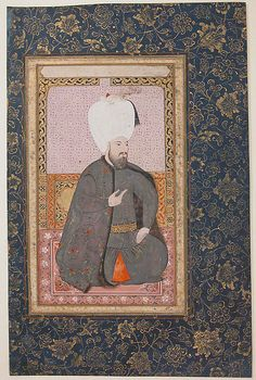 The Ottoman interest in royal portraiture expressed itself in the production of illustrated manuscripts and albums containing images of the succession of sultans. This painting, from an album containing a series of similar sultan portraits, has been identified as a depiction of the early seventeenth-century Ottoman sultan Ahmet I | Turkey, early 17thcentury | Ink, opaque watercolor, and gold on paper; 48.9 x 36.2 cm