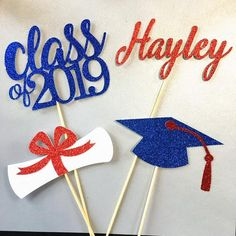 Your place to buy and sell all things handmade Graduation Table Centerpieces, Graduation Decorations, Graduation Ideas, Gender Reveal Cupcakes, Graduation Celebration, Glitter Cardstock, Class Of 2019, School Colors, Vinyl Crafts
