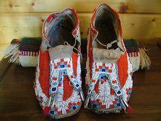 Antique 19c Original Beaded Native American Moccasins