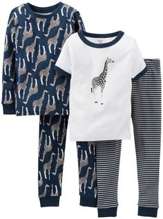 Carter/'s Toddler Boy/'s Giraffe Striped Pajama PJ Shortall Romper