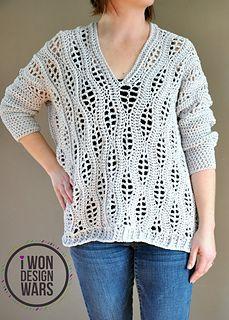 Ravelry: Salena Sweater pattern by Sincerely Pam Black Crochet Dress, Love Crochet, Knit Crochet, Crochet Sweaters, Crochet Tops, Crochet Blouse, Beautiful Crochet, Knitting Patterns, Crochet Patterns
