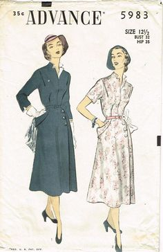 1950s Vintage 1951 Advance Sewing Pattern 5983 Misses Afternoon Dress Size 32 B
