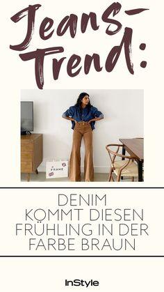 Denim-Trend: Schwarz war gestern! Der neue Jeans-Trend im Frühling 2021 dreht sich rund um braune Jeans! Wir stellen die coolsten Modelle zum Shoppen vor. #instyle #instylegermany #mode #modetrend #jeans #jeanstrend #denim #denimtrend #braunejeans #fruehling #fruehlingstrend #brauntoene #farbentrend #hose #hosentrend Jeans Rock, Denim Jeans, Jeans Trend, Overall, Trends, Fashion, Fashion Styles, Brown Jeans, Black Denim Jeans