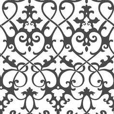 Sample Axiom Black and White Ironwork Wallpaper from the Symetrie Collection by Brewster Home Fashions