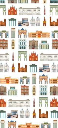 Milano Icons City Illustration, Milan Italy, Travel Guide, Skyline, Gift Wrapping, Icons, Milano, Architecture, Drawings