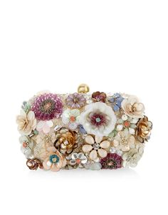 Accessorize Womens Summer Floral Hardcase Clutch Bag Decorated with crystal gem, sequin and bead-embellished flowers, and a gold-tone metal clasp, this Summer Purses, Summer Handbags, Purses And Handbags, Beaded Clutch, Beaded Purses, Beaded Bags, Floral Clutches, Sequin Clutches, Accessorize Bags