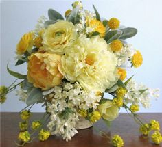 """The """"Lively"""" Silk Flower Bridal Bouquet and Boutonniere, Shades of Yellow, Cream, and Grey with Peonies, Lilacs, Ranunculus, Wild Flowers, and Dusty Miller. spring and summer weddings, #PosiesPearls"""