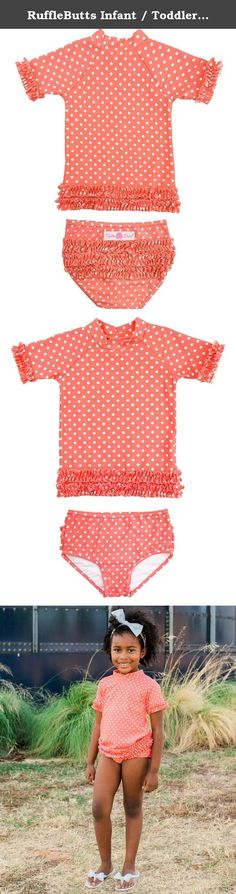 99800310bae0d RuffleButts Infant / Toddler Girls Deep Coral Polka Dot Ruffled Rash Guard  Bikini - Deep Coral - Stand out in this bold and bright UPF bathing suit.