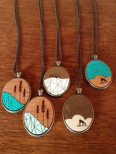 Wooden pendants by Ugly Bunny / so West Coast and so adorable! Living Hinge, Baubles And Beads, Being Ugly, Turquoise Necklace, Cool Style, Geek Stuff, Pendants, Hot Spots, West Coast