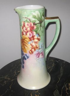 ANTIQUE LIMOGES, FRANCE TALL HAND PAINTED TANKARD,  SIGNED ca 1900s