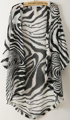 Black Batwing Sleeve Zebra Print Chiffon Kimono - Sheinside.com