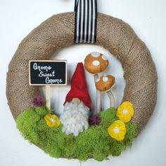 Whimsical Wreath - Gnome Wreath - Spring Wreath - Summer Wreath - Burlap Wreath - Cute Wreath by WildflowerWhimsyGA on Etsy