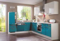 cocinas pequeñas de color azul turquesa Moduler Kitchen, Kitchen Room Design, Modern Kitchen Cabinets, Kitchen Sets, Kitchen Layout, Kitchen Furniture, Kitchen Interior, Kitchen Decor, Compact Kitchen
