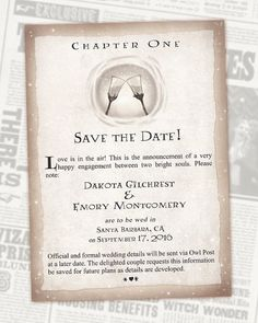 Then it will be time for a charming Save the Date. | 27 Things You Need To Have A Classy AF Harry Potter Wedding