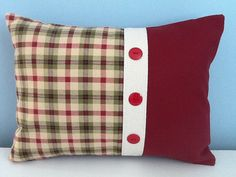 Country pillow cover. Burgundy & moss green by sterlingstitchery