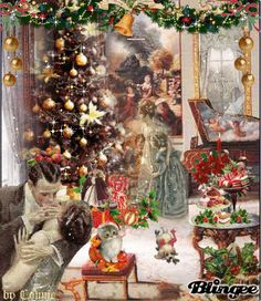 Wonderful old fashioned Christmas scene