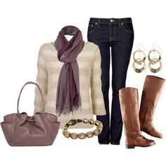 love the plum colors of the scarf/bag. super cute