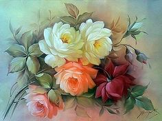 Floral still lifes Douglas Frasquetti. Discussion on LiveInternet - Russian Service Online diary Art Floral, Floral Prints, Gif Rose, Impressions Botaniques, Rose Pictures, Rose Art, Art Moderne, China Painting, Botanical Prints