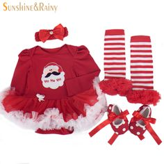 Newborn Christmas Costumes Baby Girl Clothing Sets Roupas Meninos Long-Sleeve Tutu Dress Rompers Shoes 4Pcs Set Birthday Gifts