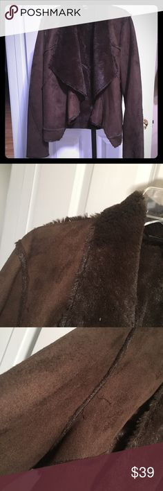 BRAND NEW cozy BROWN Jacket - SMALL A cozy imitation fur/suede jacket. Exposed and structured seams give it a modern look. Very flattering fit. BRAND NEW without TAGS. Perfect for gift giving and ready to ship. Reasonable offers accepted but no lowballing please. No trades please. Bundle 2+ items for additional discounts and to pay just one shipping charge. Jackets & Coats