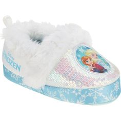 698aaa91841 Disney Frozen Toddler and Girls Cushioned Sparkle Slippers with Fur Trim  (XX-Large