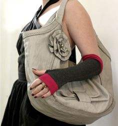 Soft grey and hot pink  fingerless stretch gloves  by WearMeUp